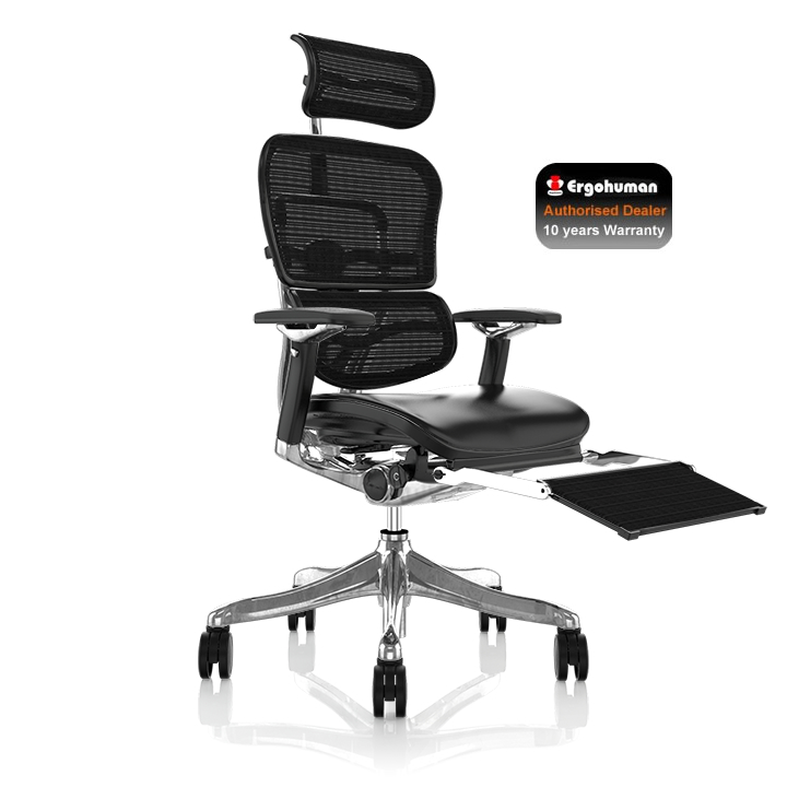 Ergohuman Plus Leather Chair with Leg Rest